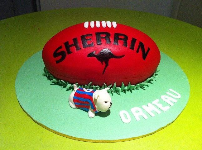 AFL Football cake with bulldog figure