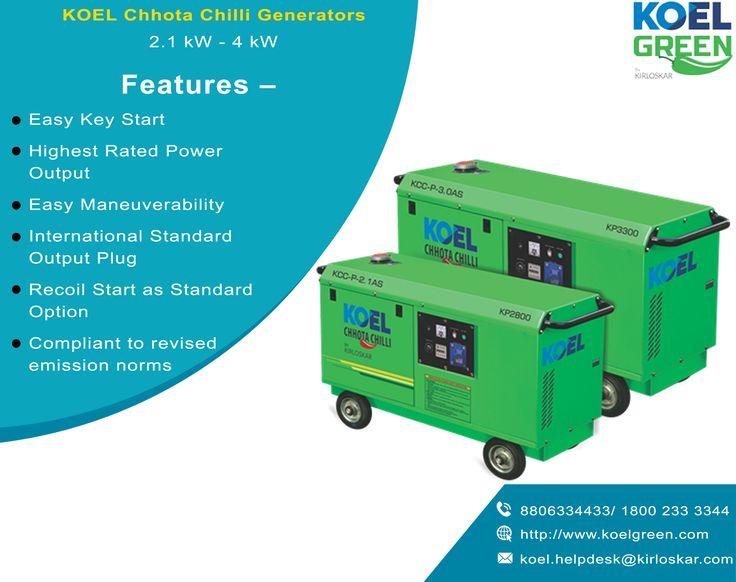 Best Quality Portable Generator, Petrol Generators for Sale  KOEL Green brings to you Chhota Chilli petrol generators for sale, with great power output and easy start. Visit petrol generator manufacturers in India at  http://koelgreen.com/petrol-generator