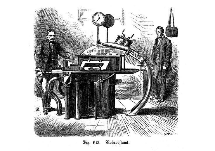 Rohrpostamt:  Die Sende- und Empfangsstation der Berliner Rohrpost 1885.