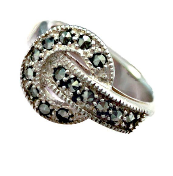 Sterling Silver Ring Marcasite Buckle Style