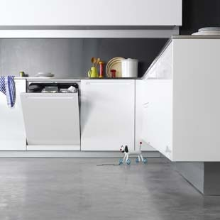 White kitchen and gray polished concrete floor- a modern versatile and hard wearing option for floors