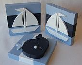 3D Wood Baby Whale and Sailboat Nautical Nursery Wall Art, Set of 3. Perfect for Nautical Themed Kids Rooms!