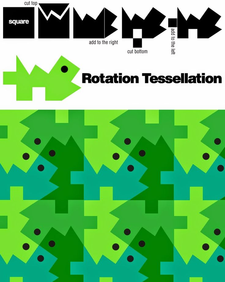 Students can create tessellations, by using the same shape over and over but turning it, flipping or sliding it across the page.
