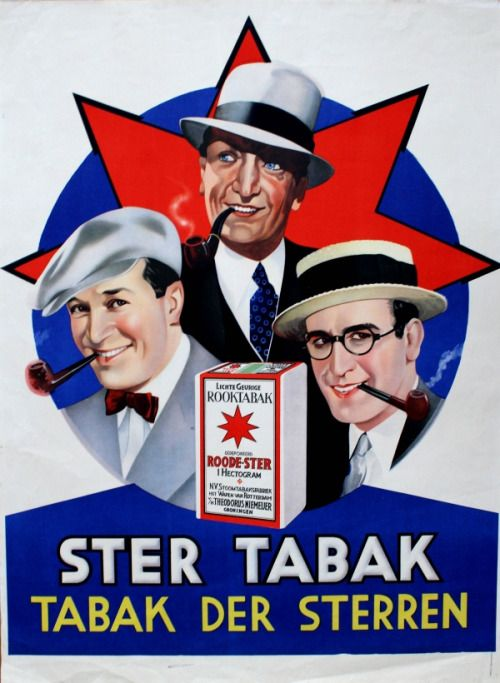 1920s Belgian advertisement for Ster Tabak - Tabak der Sterren (Tobacco of the Stars)  featuring three Hollywood movie stars, including Harold Lloyd.