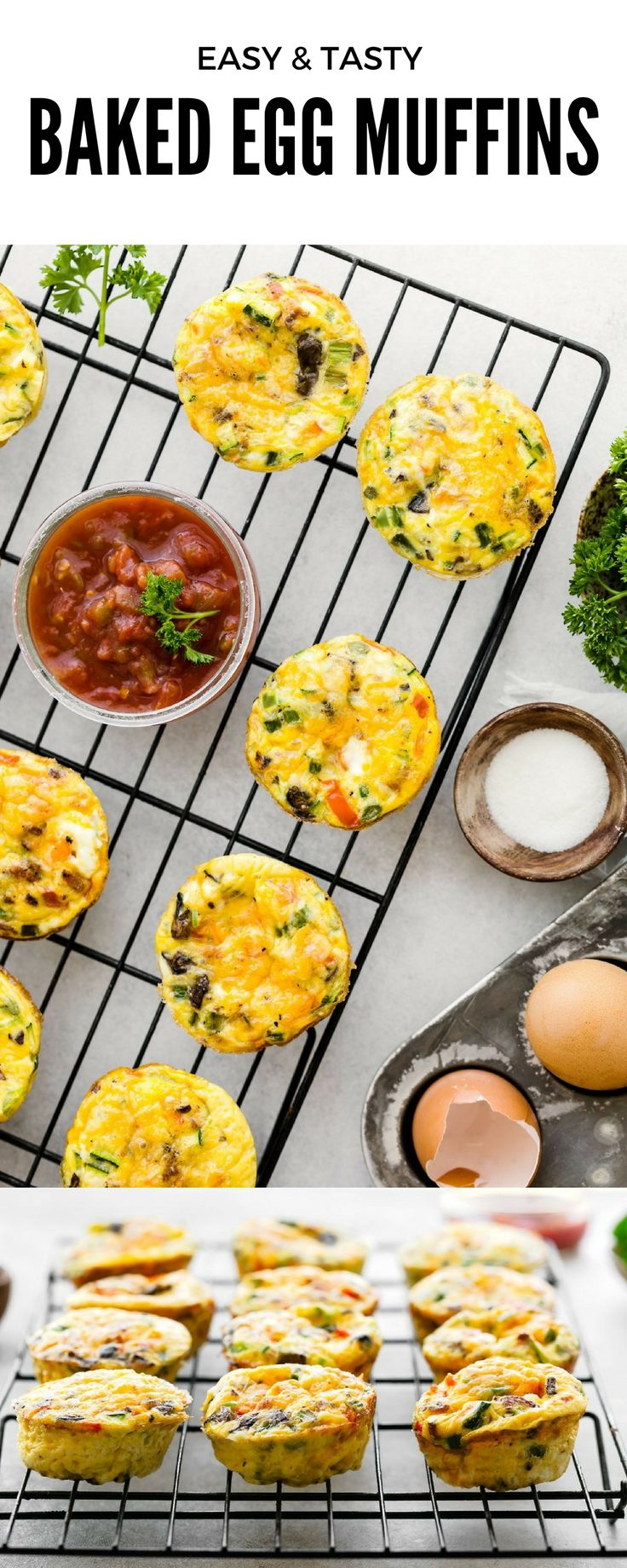 Baked Egg Muffins. Healthy breakfast recipe with vegetables, cheddar, and sausage. Low carb muffins and high in protein. Bake egg cups for 15-20 minutes only. This Baked egg muffins recipe is loaded with healthy fresh vegetables and protein.