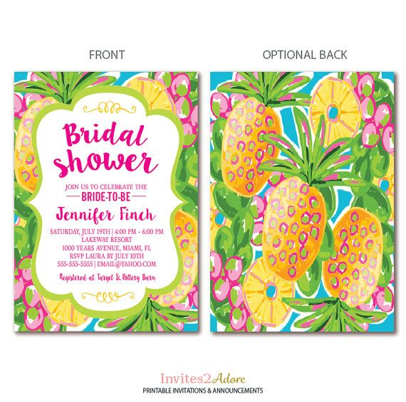 Tropical Bridal Shower Invitation Pineapple by Invites2Adore
