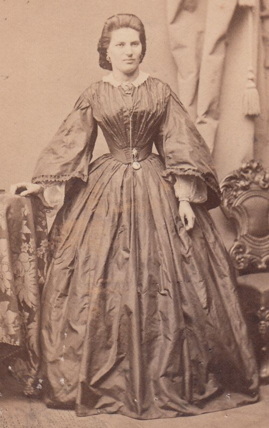 Civil War CDV Lady Pagoda Sleeves Silk Gown by LangdonRoadPhotos, $9.00