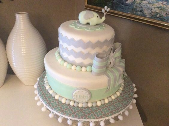 Grey and mint baby shower cake