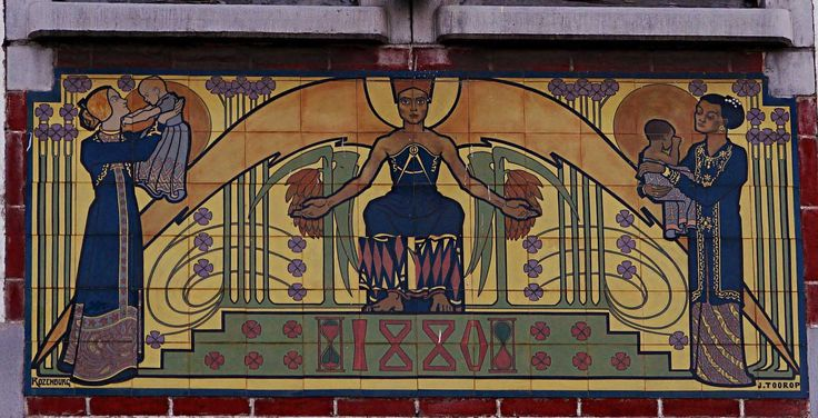 """Jan Toorop's mysterious mosaic: """"A Pharaoh between two mother and children, and garnished by floral decoration and Masonic symbol"""""""