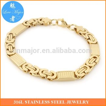 18k Gold Plated Stainless Steel Bracelet for Men Gold Plated New Byzanine Chain Two Tone Jewelry MJMB-156