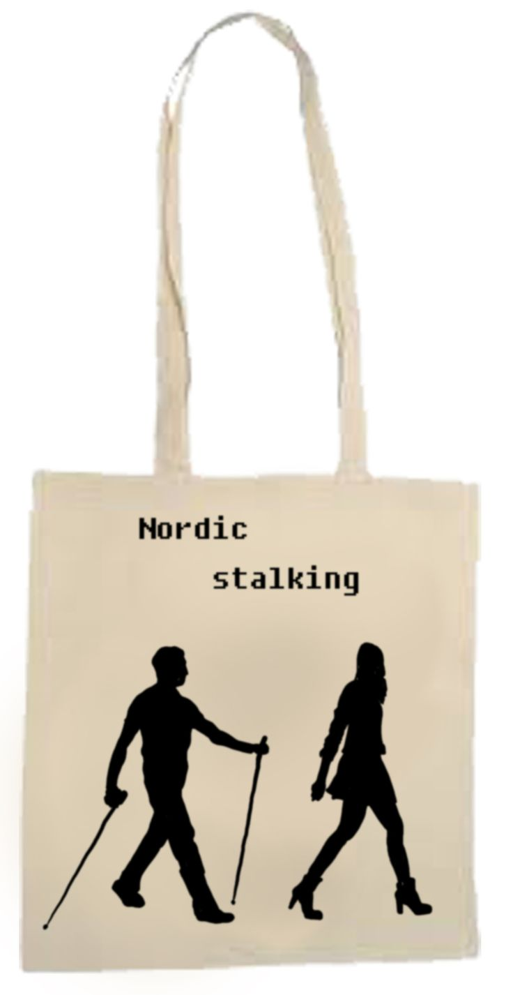 """Cool, funny girls bag - """" Nordic stalking """" ! :) great woman bag with hand painted illustration. from etsy- toobaposters #bag #girl #woman #modern #fashion #cute #funny #tooba #posters #nordic #stalking"""