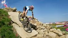 Canada's CatherinePendrelcompetes in the women's cross-country mountain bike event at the 2012 Summer Olympics in London, England, Saturday, finishing in 9th place.