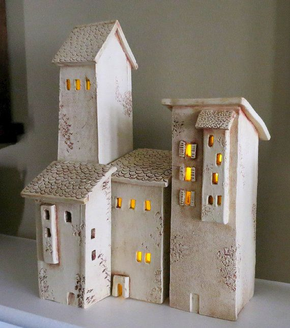 Ceramic Houses Tuscany Hill Town Italian Hill by PotterybyJohn, $175.00