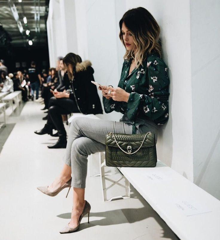 Classy floral green shirts grey pants skinny jeans heels
