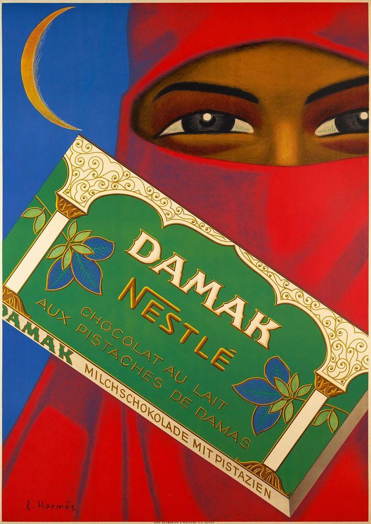 Nestlé Damak, Chocolat au lait aux pistaches de Damas. Eric HERMES (1935 circa)