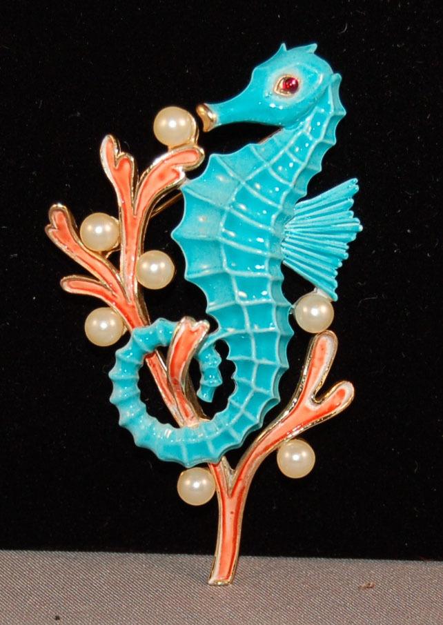 Crown Trifari Under the Sea Alfred Philippe Enamel Sea Horse w/Coral/Pearls