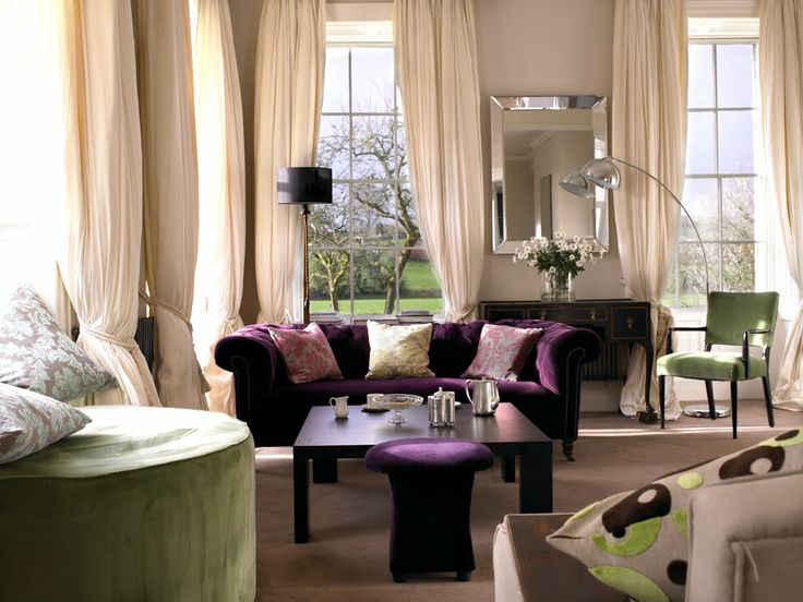 Another Living Room Decoration Idea With Purple Sofa I Wasn T Thinking To Have Green In Our Living Room Color Palette But Now I Don T Know