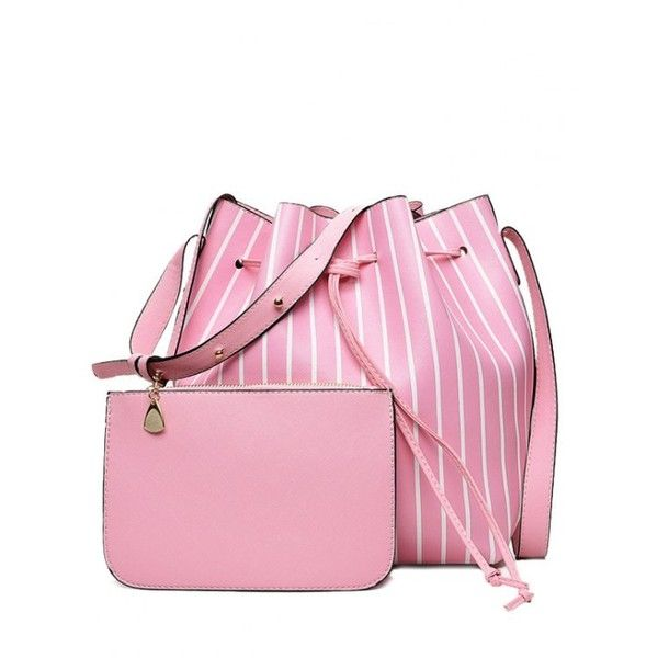 Pouch Bag And Striped Bucket Bag Pink ($24) ❤ liked on Polyvore featuring bags, handbags, shoulder bags, pink shoulder bag, pink purse, stripe purse, pouch handbags and shoulder handbags