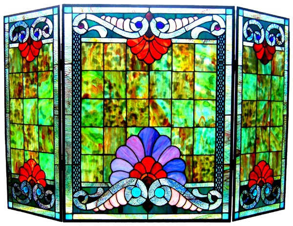 Top 25 ideas about stained glass fireplace screens on ...