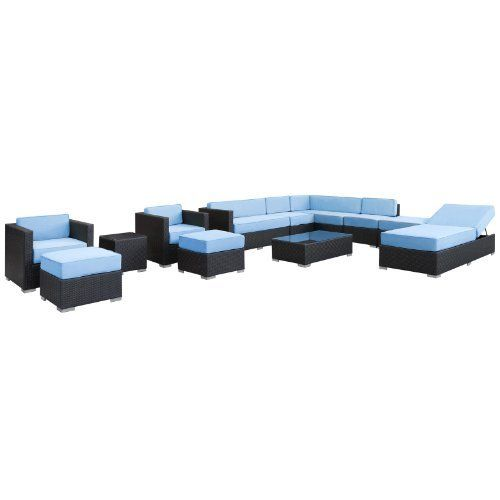 East End Imports Fusion Outdoor Rattan 12 Piece Set in Espresso with Light Blue Cushions by East End Imports. $6901.14. • All Weather Synthetic Rattan Weave • Powder Coated Aluminum Frame • Water & UV Resistant • Machine Washable Cushion Covers • Easy To Clean Tempered Glass Top • Ships Pre-Assembled • Item Ships in 2 - 3 Weeks. Harmonious positioning lends grace to every gathering with this sprawling outdoor sectional set. Commingle as participa...