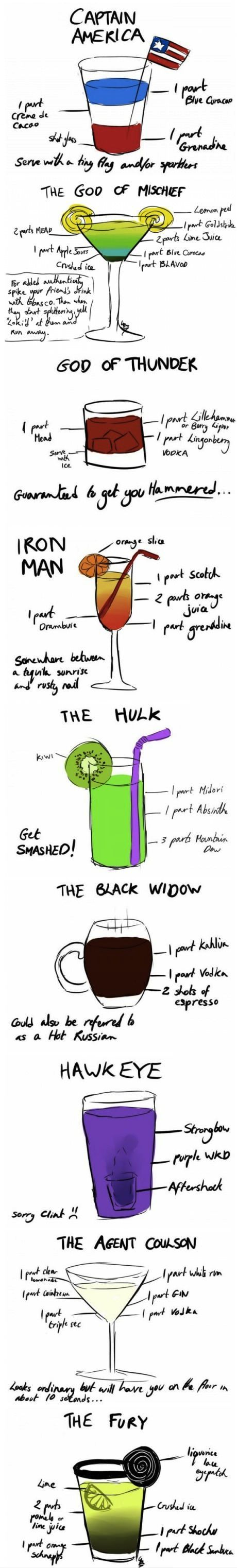The Avengers mixed drinks... sounds interesting...: Avengers Parties, Idea, Recipe, Food, Avengers Cocktails, Superheroes, Avengers Drinks, Super Heroes, The Avengers