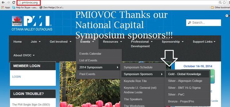 National Capital Symposium sponsors: PMIOVOC thanks them! (Oct 14-16/2014)