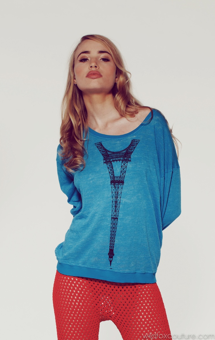 TOUR EIFFEL- OVERSIZE SWEATSHIRT at Wildfox Couture in CERULEAN