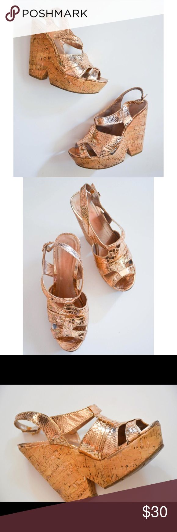 BGBGeneration Rose Gold Metallic Wedges Brand: BCBGeneration Style: PL-Edelle Wedge height: 5 inches Condition: worn, some wear on the soles, excellent outer condition though.  Size: 7.5 B NO SWAPS BCBGeneration Shoes Wedges