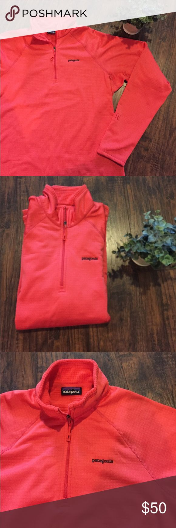 "•Patagonia• 1/4 Zip Pullover Patagonia 1/4 Zip Pullover in Excellent Used Condition. I believe this is a size large but please confirm with measurements. This is an awesome color, it's a combination of orange and red. Waffle pattern on the inside for warmth. Polartec Power Dry. ""R"" printed on one sleeve. Armpit to Armpit Approximately 20.5"", Length Approximately 27"", Arms Approximately 27.5"" Patagonia Tops Sweatshirts & Hoodies"