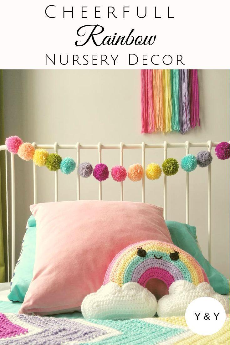 Pastel Rainbow Pom Poms| Rainbow Baby Gifts| Crochet ...