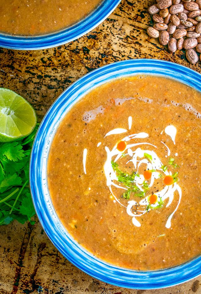 Sopa Tarasca is one of Mexico's most popular soups -- a delightfully satiating pinto bean soup that will keep you coming back for more. So good! mexicanplease.com