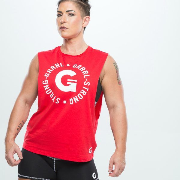 Red STRONG GRRRL Muscle Tee