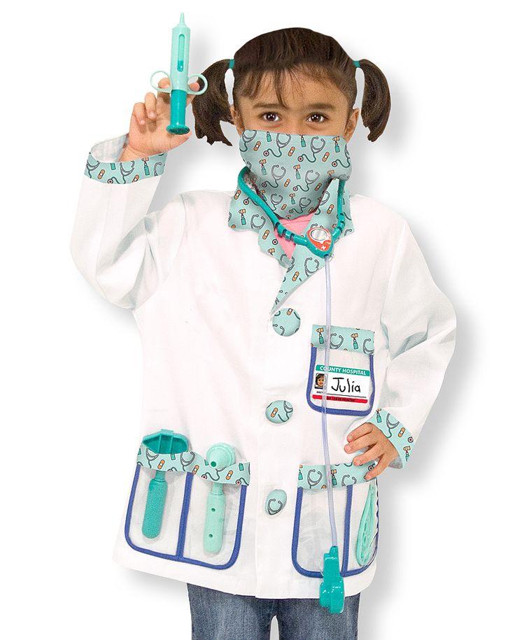 DISFRAZ DE DOCTOR/A El doctor lo verá ahora! Con este conjunto de pequeño doctor estará totalmente equipada con una chaqueta y una macarilla de cara, un estetoscopio con efectos de sonido, un martillo de reflejos, audioscopio para oídos, una jeringuilla y una etiqueta para personalizar con su nombre.Requiere 2 pilas de AAA (LR03) no incluidas. 80% poliéster y 20% algodón. #disfraz #Carnaval2015 #Carnaval  http://www.babycaprichos.com/disfraz-de-doctor-a.html