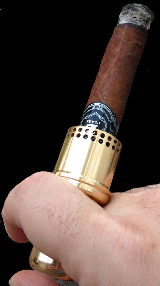Cigar Cannon Premium Cigar Holder Gold Smoking Accessory Not a Lighter Gift