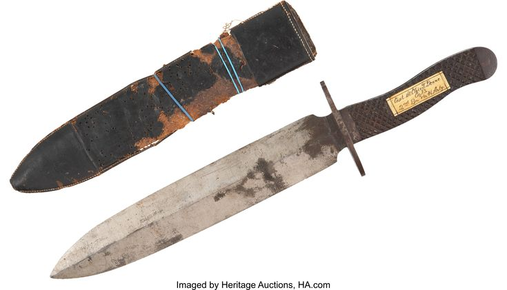 """Confederate Bowie Knife and Sheath identified to """"Capt. St. Clair T. Deane/ Co. B/ 2nd Bn. Va. H. Arty"""". Deane was originally Captain of the """"Greene Rough & Readys"""" a unit formed in Stanardsville, Virginia in May 1861, which was subsequently identified as """"Capt. S. T. Deane's Batt'n of Artillery"""" in July 1861. The unit became part of the 4th Va. Hvy. Arty in Sept/Oct 1862 and was absorbed by the 34th Virginia Inf. with whom Deane served during the Siege of Petersburg in 1864. Heritage…"""
