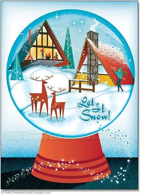 A Frame House Snow Globe Christmas Cards 8 Cards Env Retro