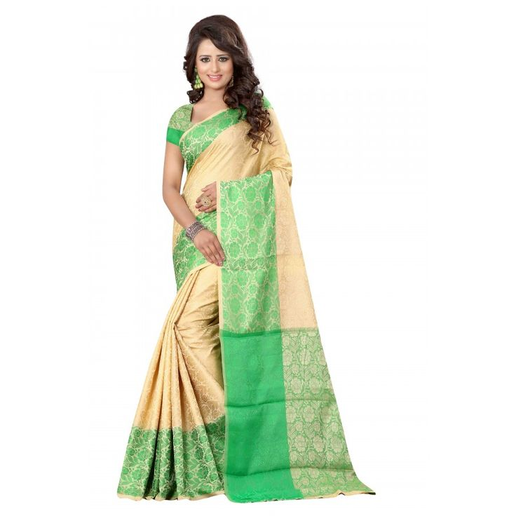 Beautiful Green Color Cotton Silk Saree at just Rs.1050/- on www.vendorvilla.com. Cash on Delivery, Easy Returns, Lowest Price.