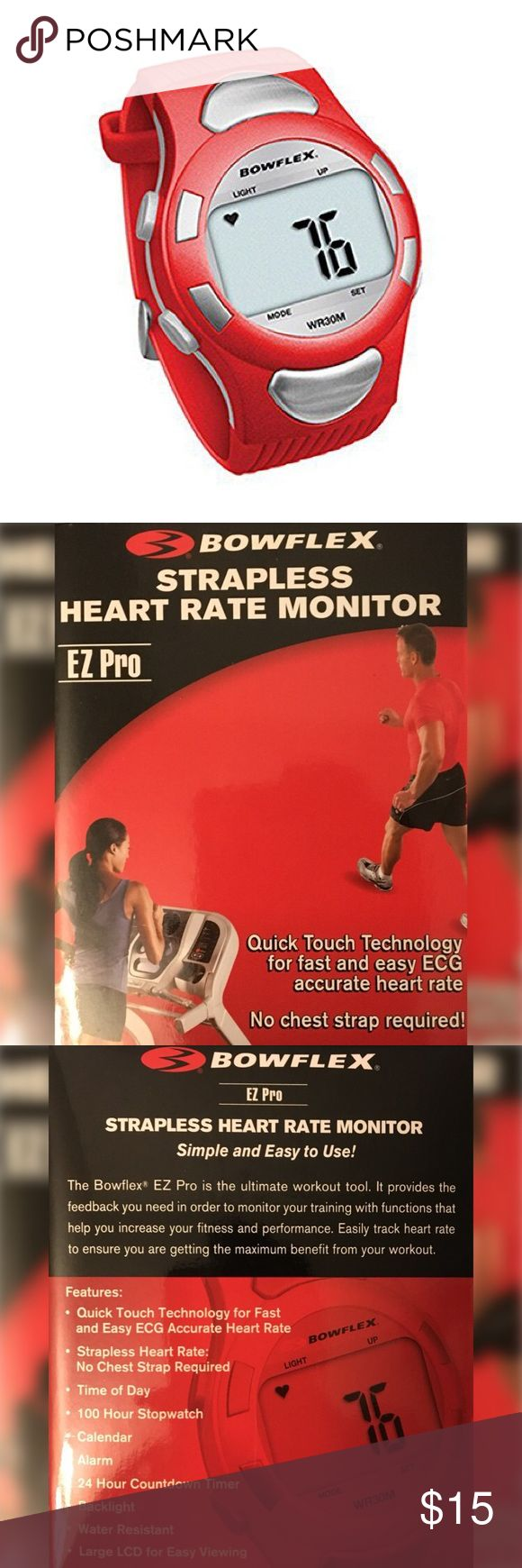 """BOWFLEX Red """"Fitbit"""" Wrist Heart Rate Monitor Heart rate monitor that doubles as a watch  Backlit LCD screen  Accurate report of ECG heart rate  Displays time and date  100-hour stopwatch  24-hour countdown timer  Multiple colors  Water-resistant up to 30 meters  Multiple size adjustments with secure metal clasp Bowflex Accessories Watches"""