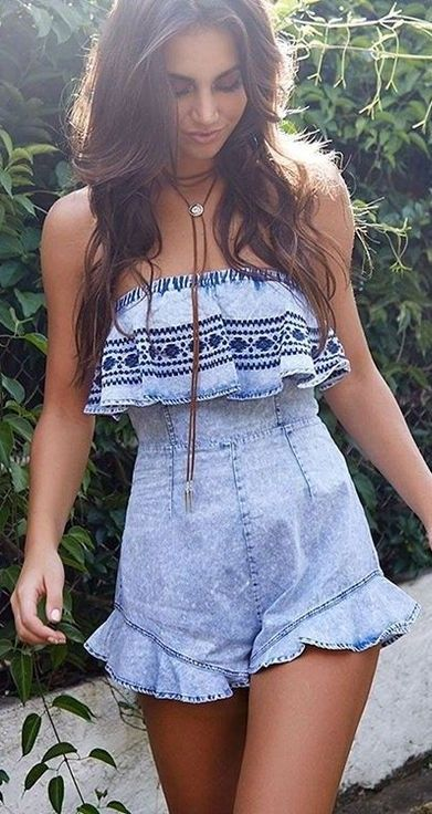 #beginningboutique #label #outfits | Acid Wash And Embroidery Denim Playsuit
