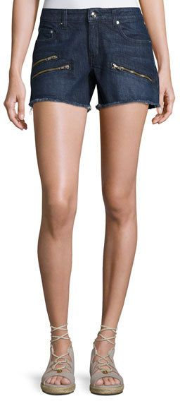 Derek Lam 10 Crosby Quinn Mid-Rise Slim Girlfriend Jean Cutoff Shorts, Indigo