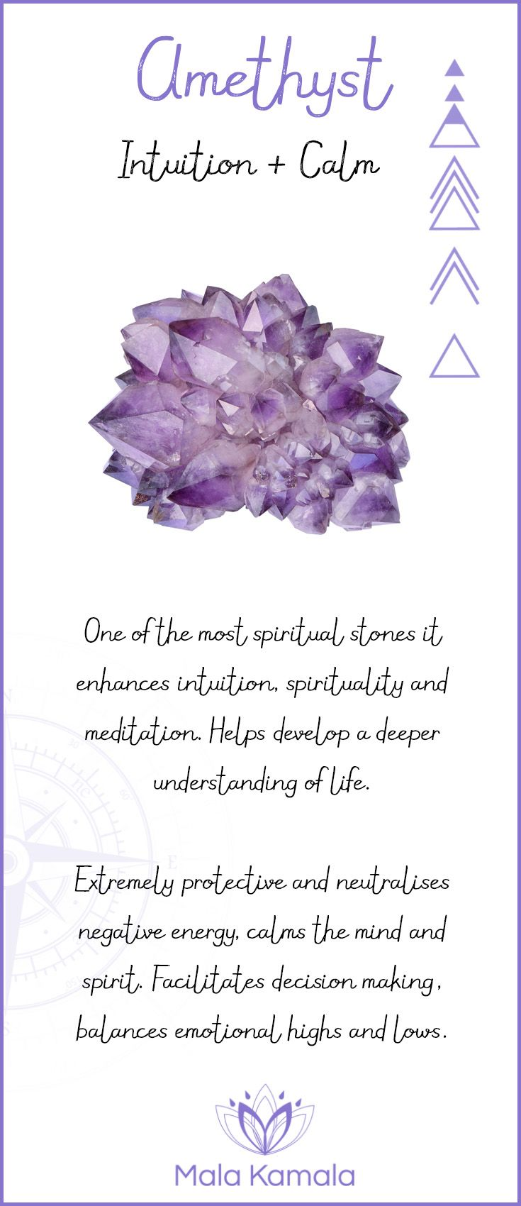 Pin To Save, Tap To Shop The Gem. What is the meaning and crystal and chakra healing properties of amethyst? Mala Kamala Mala Beads - Malas, Mala Beads, Mala Bracelets, Tiny Intentions, Baby Necklaces, Yoga Jewelry, Meditation Jewelry, Baltic Amber Neckl