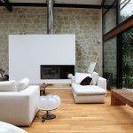 Loft contemporain avec verrière et cheminée rectangulaire