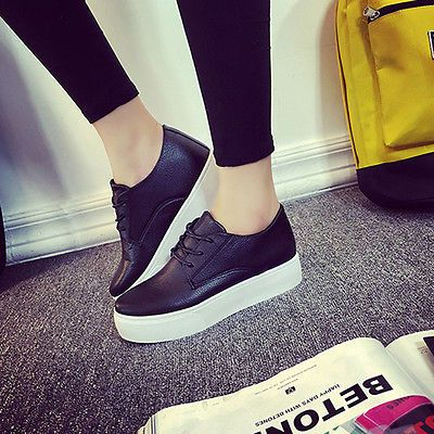 Womens Fashion White Platform Sneakers Lace Up Casual Sportswear Walking Shoes