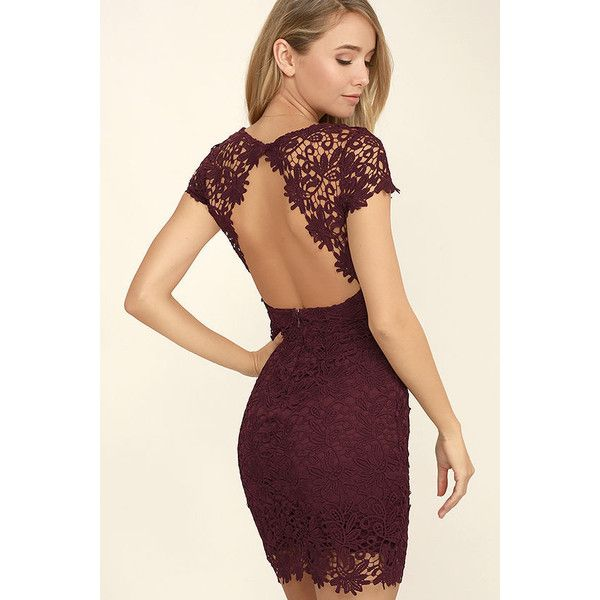 Hidden Talent Backless Burgundy Lace Dress ($58) ❤ liked on Polyvore featuring dresses, red, backless bodycon dress, red backless dresses, red lace cocktail dress, sheer lace dress and lulu's dresses