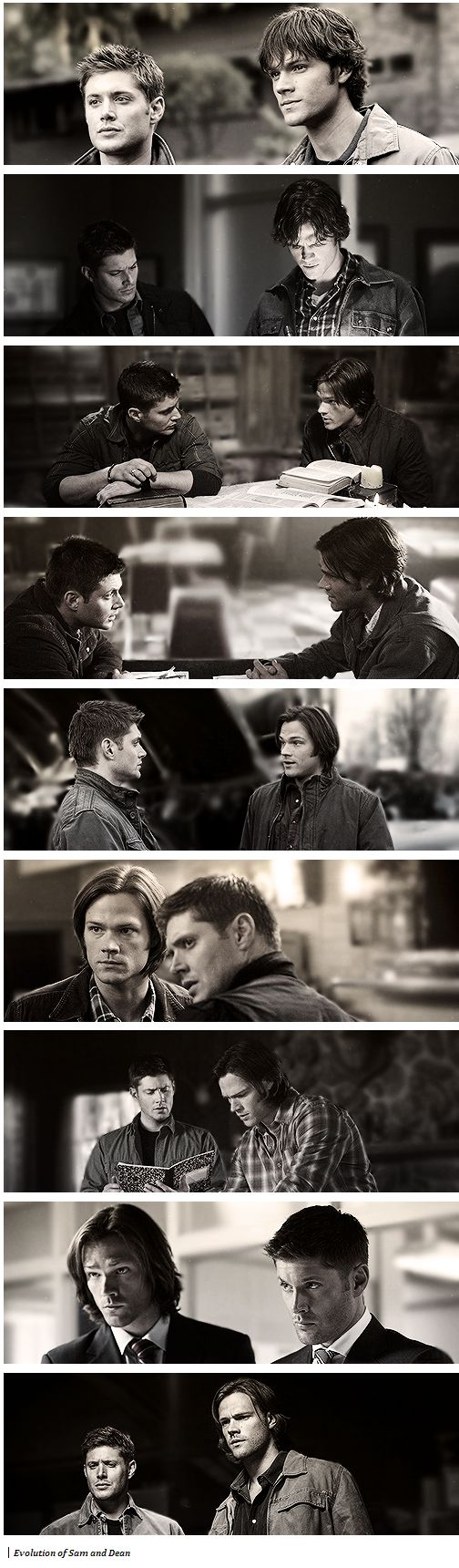 The evolution of Sam and Dean.. i can tell the seasons by the length of sam's hair. so really its the evolution of sam