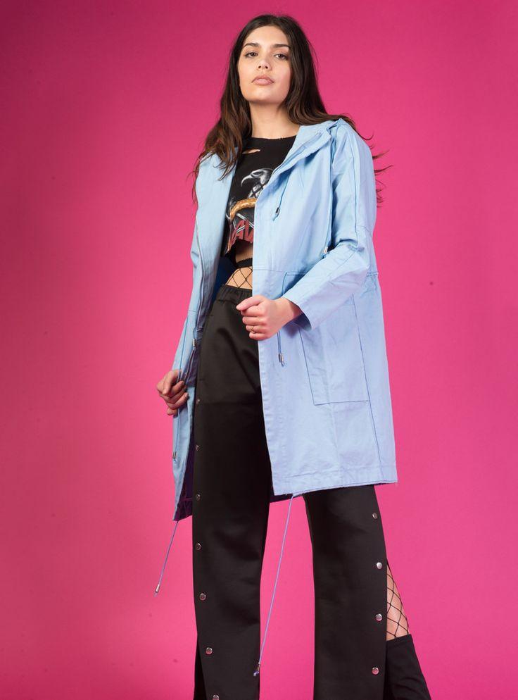 Blue Hooded Parka Jacket