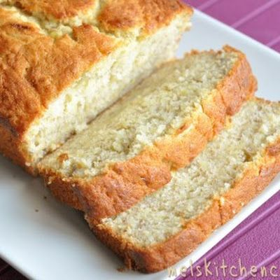 Buttermilk Banana Bread - I always cut back the sugar by half and replace with a regular scoop of protein powder. I also don't use real butter but olive oil margarine.: