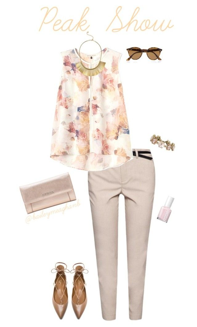 """""""Essie Inspired: Peak Show"""" by baileymeaghanb on Polyvore featuring MANGO, Aquazzura, Rebecca Taylor, Stella & Dot, Essie, GUESS and Ray-Ban"""