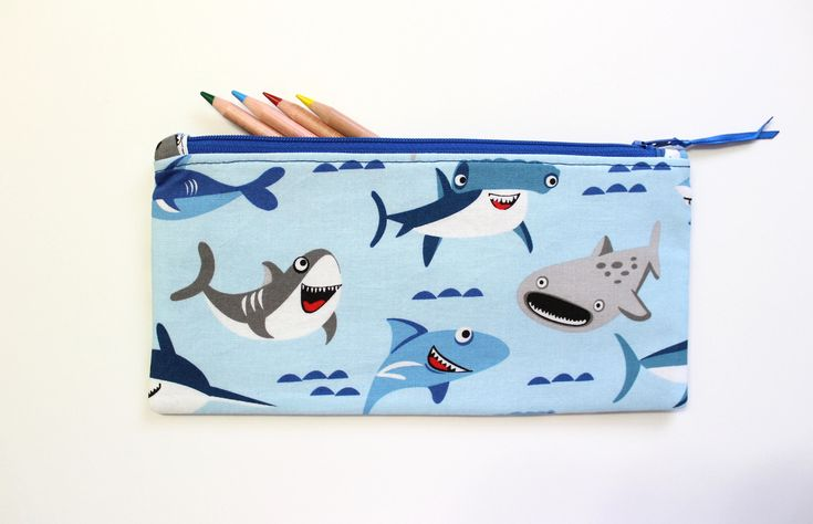 Shark Pencil Pouch, Pencil Case, Student Gift, Cute Pencil Case, Cute School Supplies, Gift Ideas by LittleFoxSewsLots on Etsy