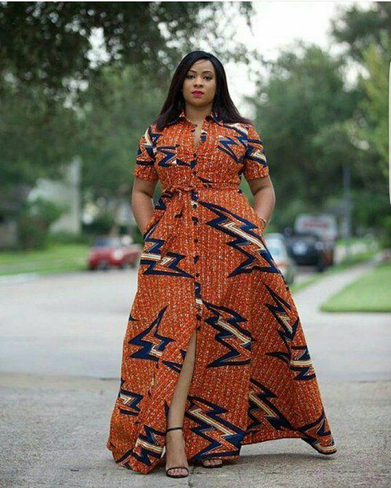 orange african print dress
